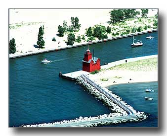 Aerial photo of Big Red Lighthouse at Holland Michigan