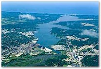 Aerial photo of Holland, MI, from east to west